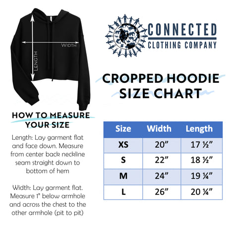 Cropped Hoodie Sweatshirt Size Chart - Connected Clothing Company - Ethically and Sustainably Made - 10% donated to the Oceana shark conservation