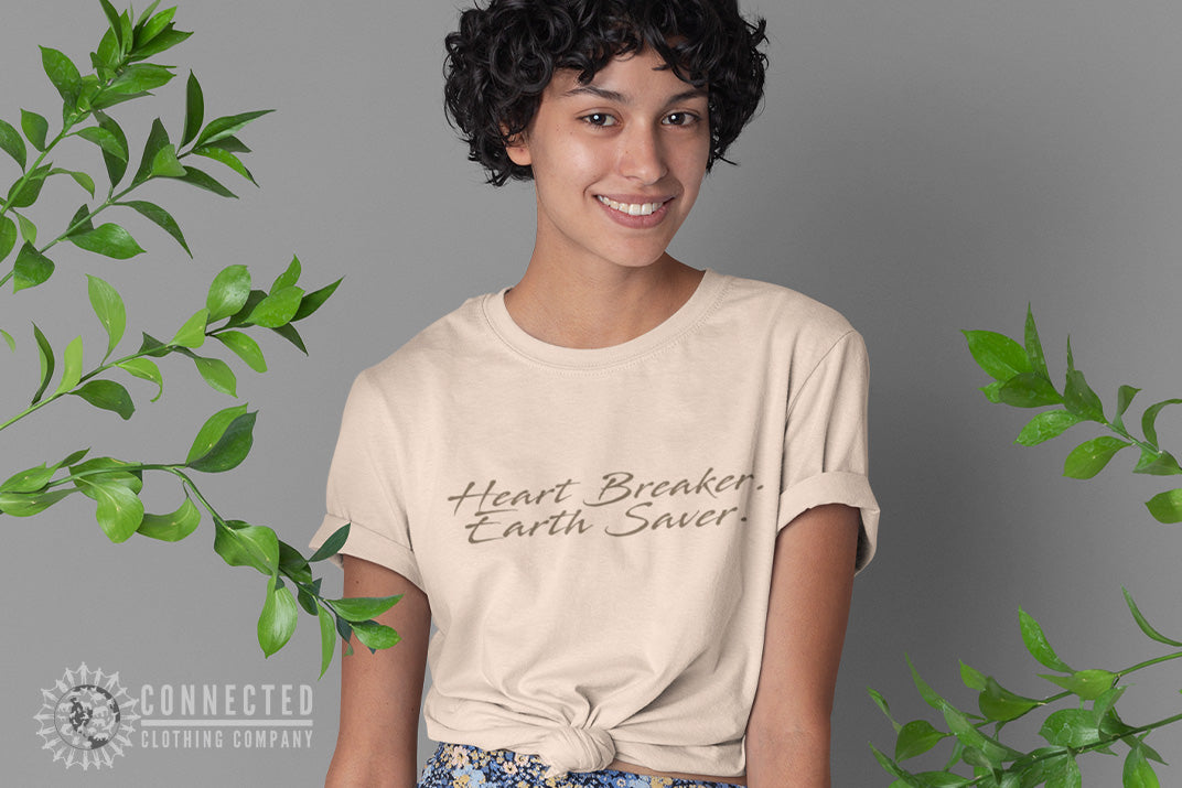 Model wearing Soft Cream Heart Breaker Earth Saver Short-Sleeve Tee - Connected Clothing Company - Ethically and Sustainably Made - 10% donated to Mission Blue ocean conservation