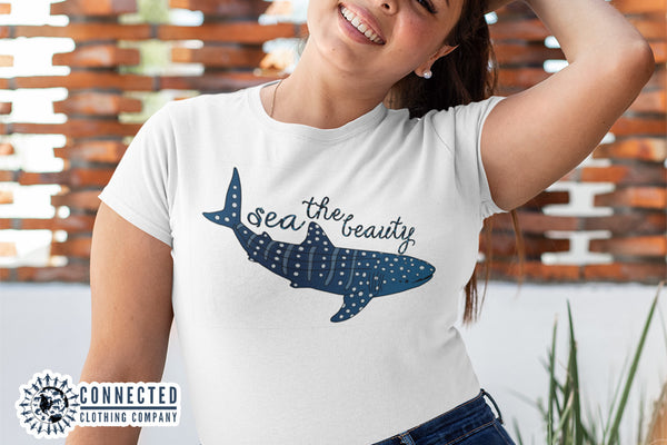 Model wearing Sea The Beauty Short-Sleeve Tee - Connected Clothing Company - Ethically and Sustainably Made - 10% donated to Mission Blue ocean conservation