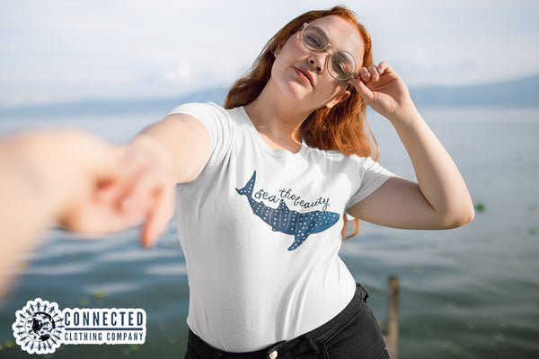 Red Haired Model Wearing Sea The Beauty Short-Sleeve Tee - Connected Clothing Company - Ethically and Sustainably Made - 10% donated to Mission Blue ocean conservation