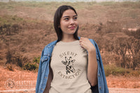 model wearing Connected Clothing Company Giraffe Silent Extinction Short-Sleeve Tee