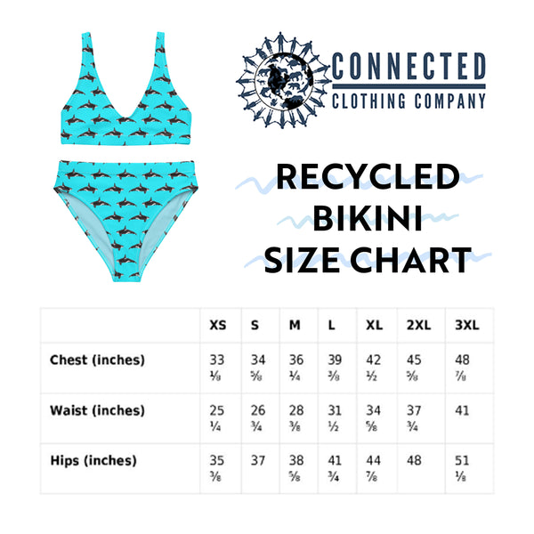 Orcinus Orca Recycled Bikini Size Chart - 2 piece high waisted bottom bikini - Connected Clothing Company - Ethically and Sustainably Made Apparel - 10% of profits donated to ocean conservation