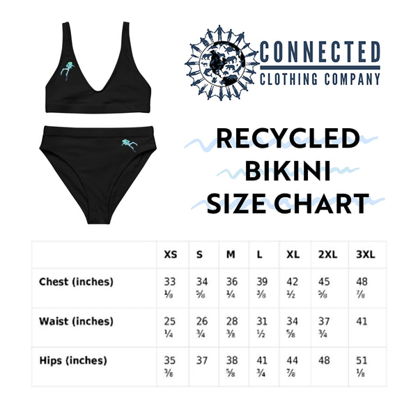 Scuba Diver Recycled Bikini Size Chart - 2 piece high waisted bottom bikini - Connected Clothing Company - Ethically and Sustainably Made Apparel - 10% of profits donated to ocean conservation