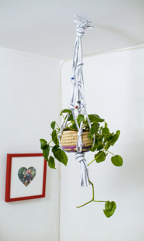 Simple Macrame Plant Holder made from used T-shirts