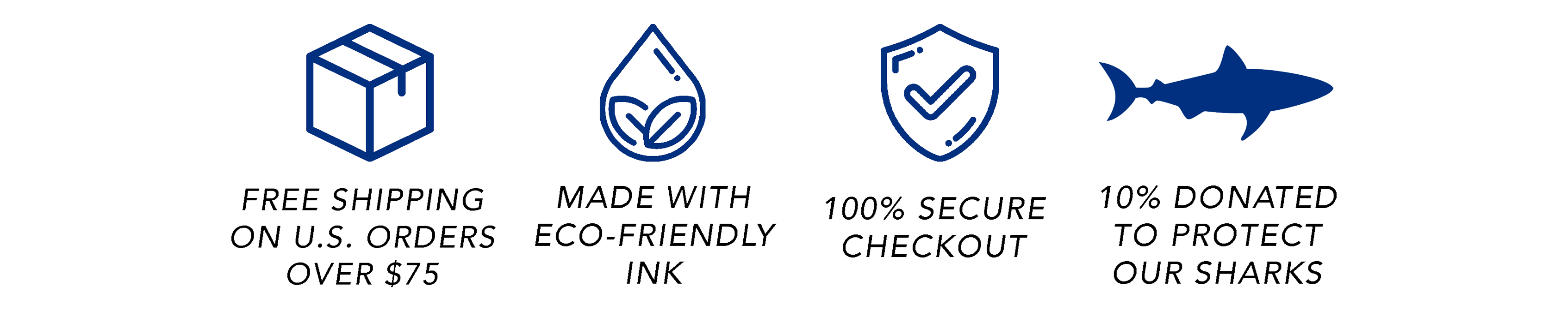 Free shipping on U.S. orders over $75. Made with eco-friendly ink. 100% secure checkout. 10% donated to protect our sharks.- Connected Clothing Company