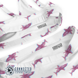 3D Shark Recycled Bikini - 2 piece high waisted bottom bikini - Connected Clothing Company - Ethically and Sustainably Made Apparel - 10% of profits donated to ocean conservation