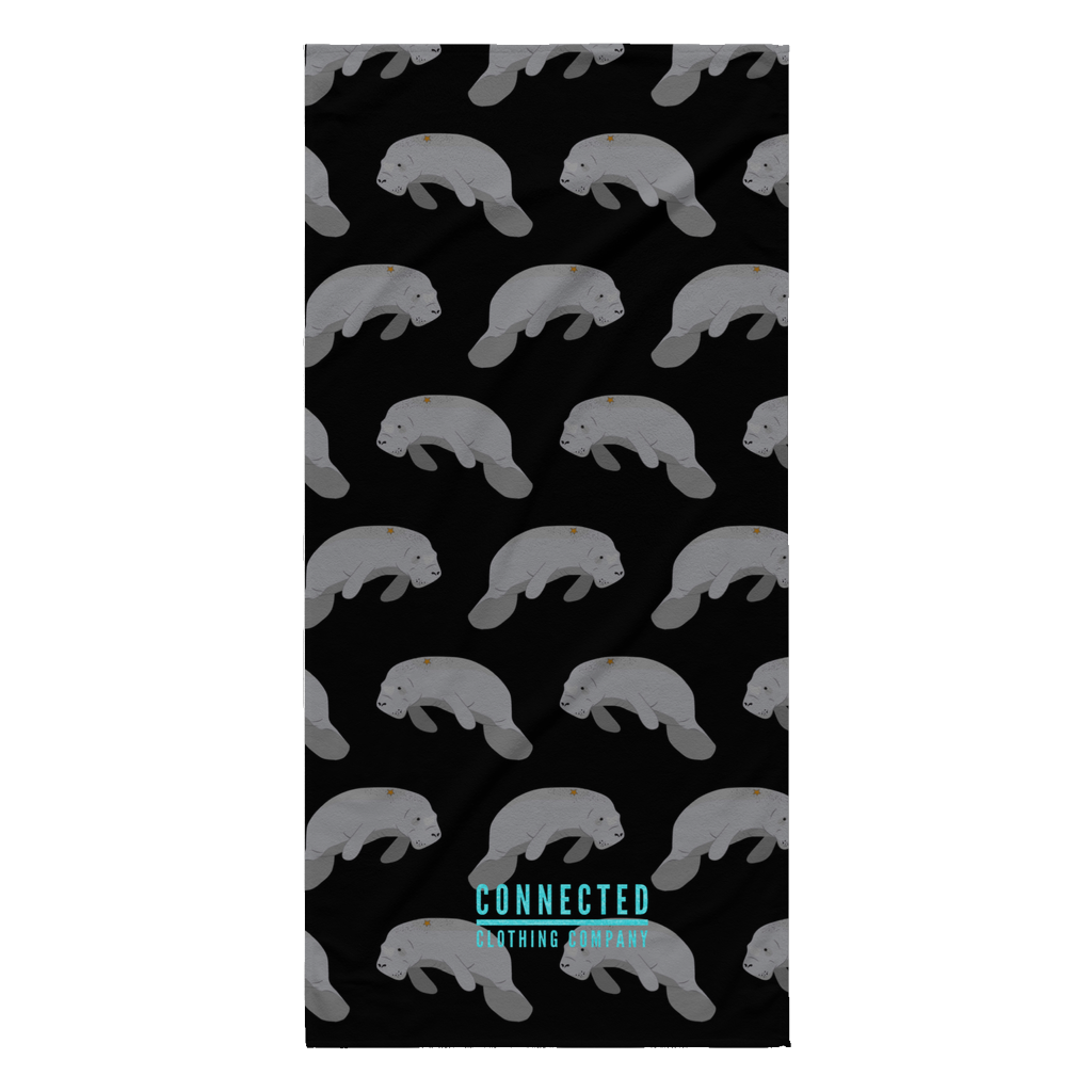 Manatee Print Beach Towel in Black - Connected Clothing Company