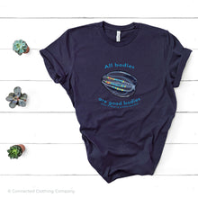 "Load image into Gallery viewer, Navy All Bodies Are Good Bodies Tee reads ""All bodies are good bodies (even if they're a little squishy)."" and has a comb jelly ctenophore illustration - Connected Clothing Company - Ethically and Sustainably Made - 10% donated to Mission Blue ocean conservation"