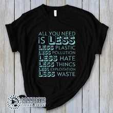 "Load image into Gallery viewer, Black All You Need Is Less Short-Sleeve Unisex Tee reads ""all you need is less. less plastic. less pollution. less hate. less things. less exploitation. less waste."" - Connected Clothing Company - Ethically and Sustainably Made - 10% of profits donated to Mission Blue ocean conservation"