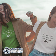 "Load image into Gallery viewer, 2 Friends Wearing A Kelly Green Be The Voice Sea Turtle Tee reads ""I speak for those who have no voice."" And A White Tee - Connected Clothing Company - Ethically and Sustainably Made - 10% donated to the Sea Turtle Conservancy"