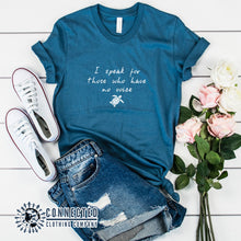 "Load image into Gallery viewer, Steel Blue Be The Voice Sea Turtle Tee reads ""I speak for those who have no voice."" - Connected Clothing Company - Ethically and Sustainably Made - 10% donated to the Sea Turtle Conservancy"