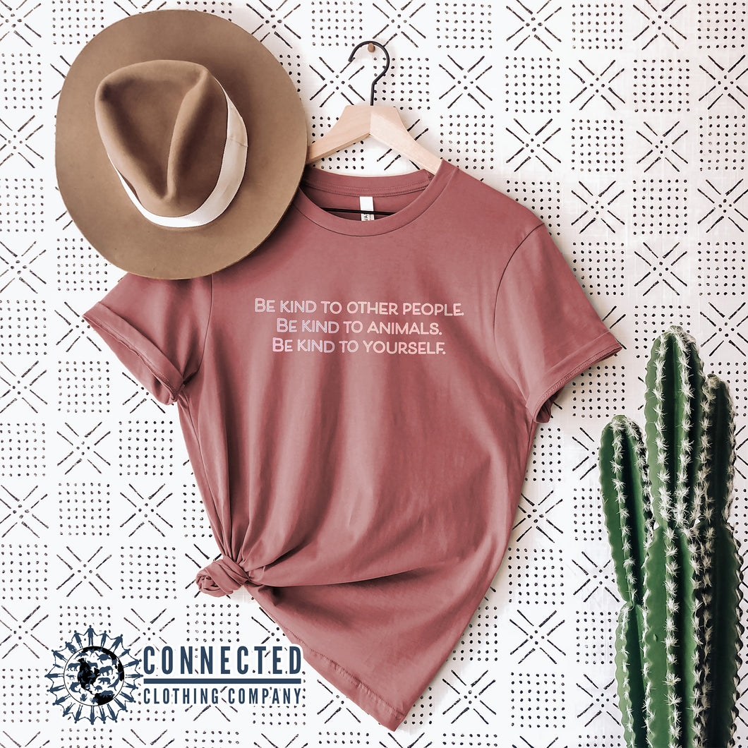 Mauve Be Kind To All Short-Sleeve Tee - Connected Clothing Company - 10% of profits donated to ocean conservation