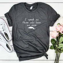 Load image into Gallery viewer, Be The Voice Whale Unisex Short-Sleeve Tee in Asphalt - Connected Clothing Company donates 10% of the profits from this t-shirt to Mission Blue ocean conservation