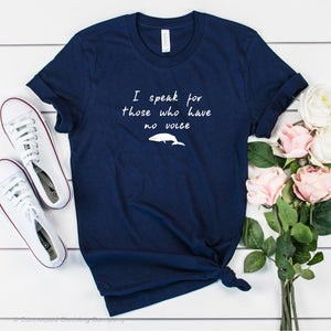 Be The Voice Whale Unisex Short-Sleeve Tee in Navy - Connected Clothing Company donates 10% of the profits from this t-shirt to Mission Blue ocean conservation