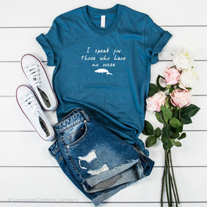 Be The Voice Whale Unisex Short-Sleeve Tee in Steel Blue - Connected Clothing Company donates 10% of the profits from this t-shirt to Mission Blue ocean conservation