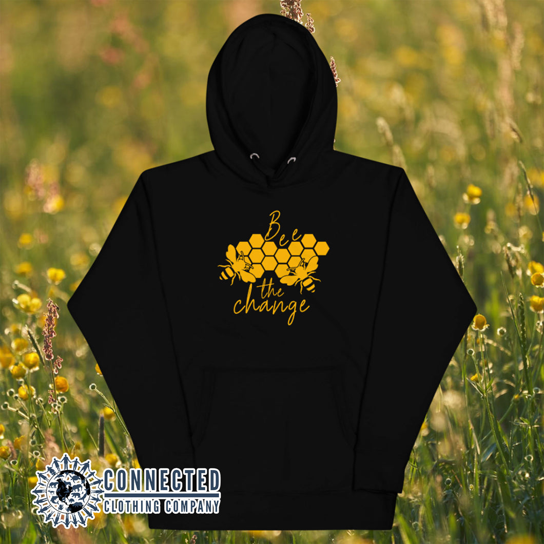 Black Bee The Change Unisex Hoodie - Connected Clothing Company - Ethically and Sustainably Made - 10% donated to The Honeybee Conservancy