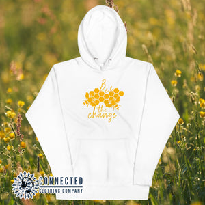 White Bee The Change Unisex Hoodie - Connected Clothing Company - Ethically and Sustainably Made - 10% donated to The Honeybee Conservancy
