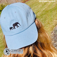 Load image into Gallery viewer, Elephant Embroidered Cotton Dad Cap - Connected Clothing Company - Ethically and Sustainably Made - 10% donated to the David Sheldrick Wildlife Fund elephant conservation and rehabilitation