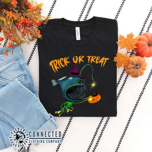 Black Trick Or Treat Anglerfish Short-Sleeve Tee - Connected Clothing Company - Ethically & Sustainably Made - 10% donated to ocean conservation