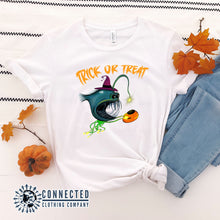 Load image into Gallery viewer, White Trick Or Treat Anglerfish Short-Sleeve Tee - Connected Clothing Company - Ethically & Sustainably Made - 10% donated to ocean conservation