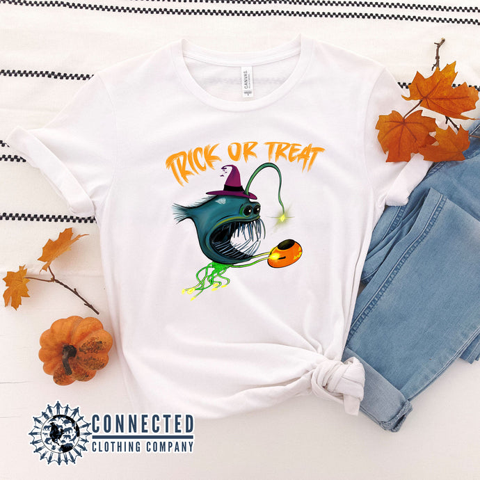 White Trick Or Treat Anglerfish Short-Sleeve Tee - Connected Clothing Company - Ethically & Sustainably Made - 10% donated to ocean conservation