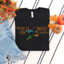 "Load image into Gallery viewer, Black ""Which Way To The Candy?"" Halloween Anglerfish Short-Sleeve Tee - Connected Clothing Company - Ethically & Sustainably Made - 10% donated to ocean conservation"