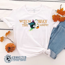 "Load image into Gallery viewer, White ""Which Way To The Candy?"" Halloween Anglerfish Short-Sleeve Tee - Connected Clothing Company - Ethically & Sustainably Made - 10% donated to ocean conservation"