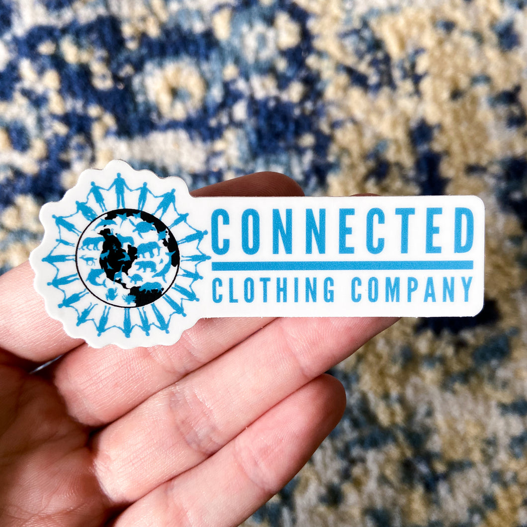 Hand holding Connected Clothing Company Logo Sticker