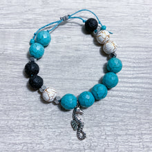 Load image into Gallery viewer, Seahorse Chunky Bracelet With Lava Beads - Connected Clothing Company - Ethically and Sustainably Made - 10% donated to Mission Blue ocean conservation