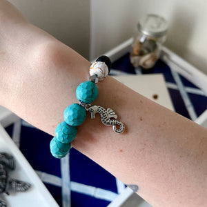 Seahorse Chunky Bracelet With Lava Beads - Connected Clothing Company - Ethically and Sustainably Made - 10% donated to Mission Blue ocean conservation