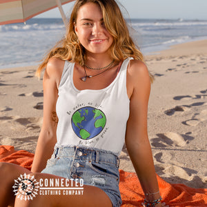 Model Wearing White No Blue No Green Women's Relaxed Tank - Connected Clothing Company - Ethically and Sustainably Made - 10% of profits donated to Mission Blue ocean conservation