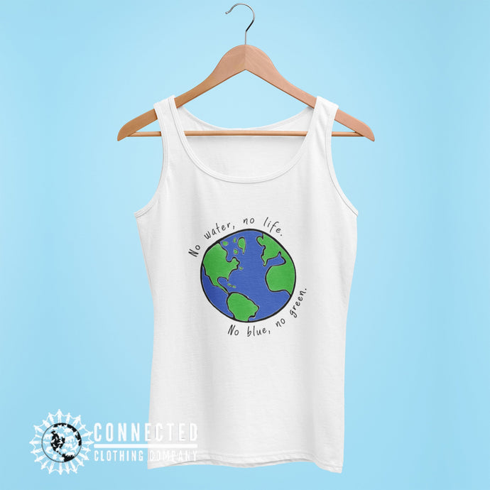 White No Blue No Green Women's Relaxed Tank - Connected Clothing Company - Ethically and Sustainably Made - 10% of profits donated to Mission Blue ocean conservation
