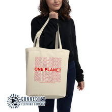 Load image into Gallery viewer, No Plastic One Planet Eco Tote Bag - 100% organic cotton - 10% of profits donated to ocean conservation - Connected Clothing Company