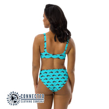 Load image into Gallery viewer, Orcinus Orca Recycled Bikini - 2 piece high waisted bottom bikini - Connected Clothing Company - Ethically and Sustainably Made Apparel - 10% of profits donated to ocean conservation