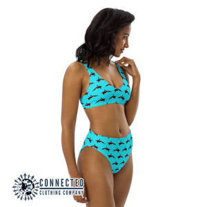 Orcinus Orca Recycled Bikini - 2 piece high waisted bottom bikini - Connected Clothing Company - Ethically and Sustainably Made Apparel - 10% of profits donated to ocean conservation