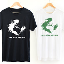 Load image into Gallery viewer, Black *Organic* Love Your Mother Earth Short-Sleeve Tee with white design and White *Organic* Love Your Mother Earth Short-Sleeve Tee with green design - Connected Clothing Company - 10% of profits donated to the Environmental Defense Fund