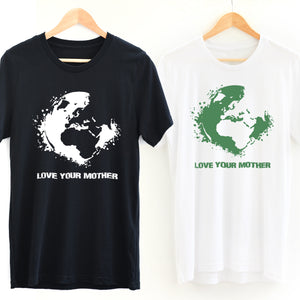 Black *Organic* Love Your Mother Earth Short-Sleeve Tee with white design and White *Organic* Love Your Mother Earth Short-Sleeve Tee with green design - Connected Clothing Company - 10% of profits donated to the Environmental Defense Fund