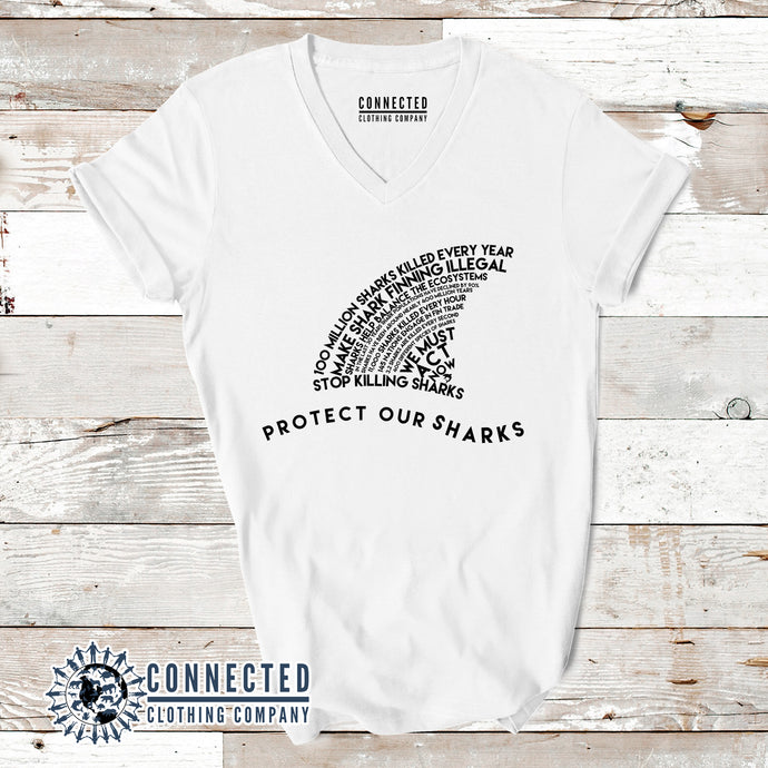 White Protect Our Sharks Short-Sleeve Women's V-Neck Tee - Connected Clothing Company - Ethically and Sustainably Made - 10% of profits donated to shark conservation