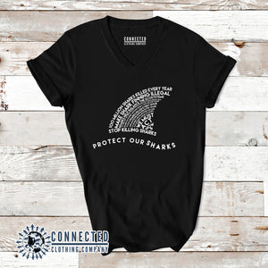 Black Protect Our Sharks Short-Sleeve Women's V-Neck Tee - Connected Clothing Company - Ethically and Sustainably Made - 10% of profits donated to shark conservation