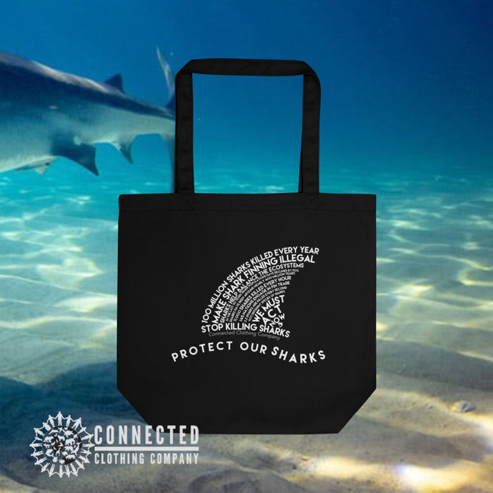 Black Protect Our Sharks Organic Cotton Eco Tote Bag - Connected Clothing Company - Ethically and Sustainably Made - 10% donated to Ocean shark conservation