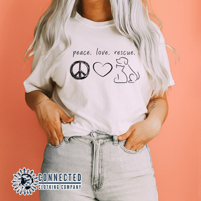 White Peace Love Rescue Short-Sleeve Tee - Connected Clothing Company - Ethically and Sustainably Made - 10% donated to Villalobos Animal Rescue Center