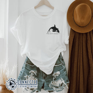 White Prevent Cruelty Orca Short-Sleeve Tee - Connected Clothing Company - Ethically and Sustainably Made - 10% donated to Humane Society International animal cruelty prevention