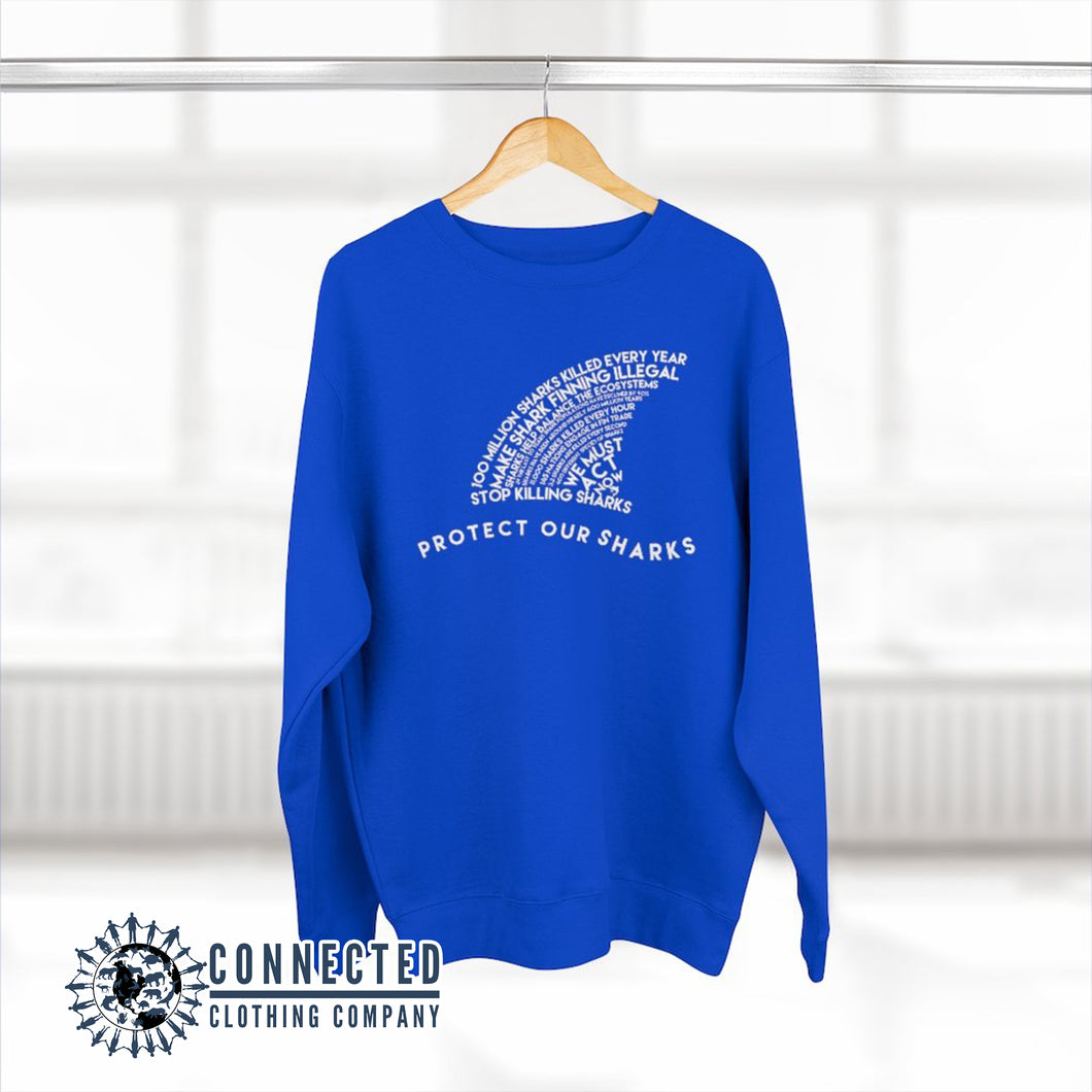 Royal Blue Protect Our Sharks Unisex Crewneck Sweatshirt - Connected Clothing Company - Ethically and Sustainably Made - 10% of profits donated to shark conservation and ocean conservation