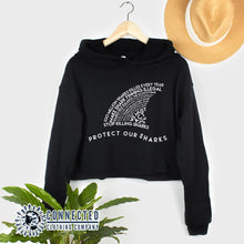 Load image into Gallery viewer, Black Protect Our Sharks Crop Hoodie - Connected Clothing Company - Ethically and Sustainably Made - 10% of profits donated to shark conservation and ocean conservation