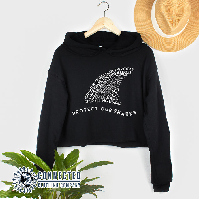 Black Protect Our Sharks Crop Hoodie - Connected Clothing Company - Ethically and Sustainably Made - 10% of profits donated to shark conservation and ocean conservation