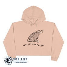 Load image into Gallery viewer, Pale Pink Protect Our Sharks Crop Hoodie - Connected Clothing Company - Ethically and Sustainably Made - 10% of profits donated to shark conservation and ocean conservation