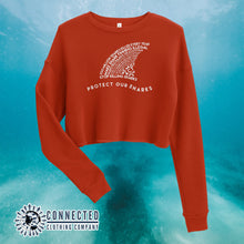 Load image into Gallery viewer, Brick Red Protect Our Sharks Crop Sweatshirt - Connected Clothing Company - Ethically and Sustainably Made - 10% of profits donated to shark conservation and ocean conservation