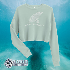 Dusty Blue Protect Our Sharks Crop Sweatshirt - Connected Clothing Company - Ethically and Sustainably Made - 10% of profits donated to shark conservation and ocean conservation