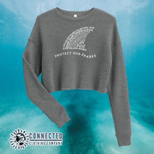 Load image into Gallery viewer, Deep Heather Protect Our Sharks Crop Sweatshirt - Connected Clothing Company - Ethically and Sustainably Made - 10% of profits donated to shark conservation and ocean conservation
