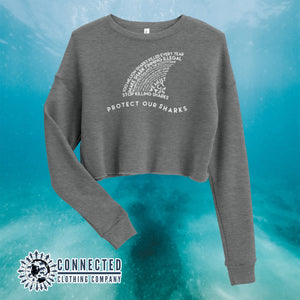 Deep Heather Protect Our Sharks Crop Sweatshirt - Connected Clothing Company - Ethically and Sustainably Made - 10% of profits donated to shark conservation and ocean conservation